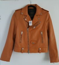 Coach Women's Leather icon Motor Jacket Brown butterscotch 2 NWT