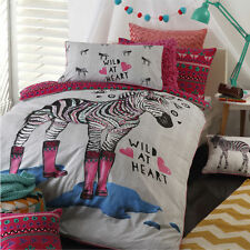 ZIPPY ZEBRA PINK ANIMAL REVERSIBLE DOUBLE bed QUILT DOONA COVER SET NEW