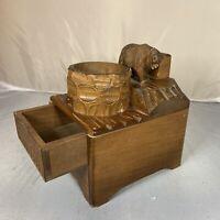 Antique Vintage Swiss Black Forest Carved Wood Tobacco Cigarette Music Box Bear