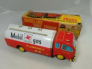 Tin Toy HAYASHI friction Mobil Gas Gasoline Tank Truck Friction -Original Box-