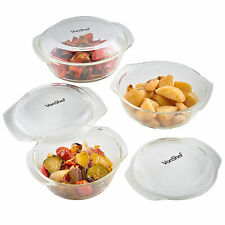 VonShef Set of 3 Glass Casserole Dishes with Lids Oven Proof Pots Bowls Dish