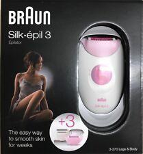 Braun Silk-épil 3 Damen Epilierer 3-270,+ 3 Extras, Rasieraufsatz Massagerollen