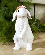 """White Easter Bunny Statue Spring Garden Yard Art Home Porch Patio Decor 12"""""""