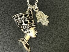 "Egypt Cleopatra Charm Tibetan Silver with 18"" Necklace D27"