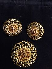 Swarovski Crystal Sun Flower Pin Brooch & Earrings Signed - LOVELY! - New