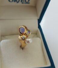 585er Gelbgold Ring mit Diamant/Brillant ,Opal und Perle
