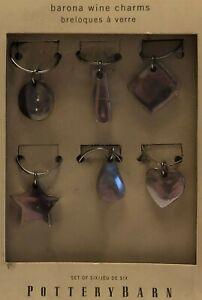 Pottery Barn wine charm set,  6 coordinating silver wine glass markers,  Barona