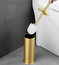 Brushed Gold Toilet Brush Holder Set Bath Clearing Tool Lavatory Free Standing