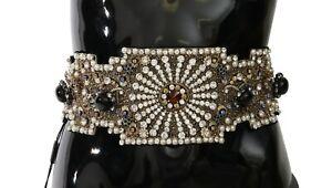 DOLCE & GABBANA Belt Crystal Black Silk SARTORIA Limited IT44 /US10 /L
