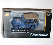 Cararama - JEEP 1/4 Ton Military Vehicle (Blue) Model Scale 1:43
