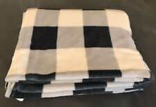 "Blue Gray Ivory Plaid Fleece Throw Blanket 50"" x 70""  Super Soft, sold by Target"