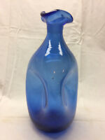 "Vintage Hand Blown Blue Glass Vase Ruffled Top Art 9 1/2"" Tall Triangle Bottle"