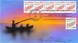 2454 5c Canoe Precancel David Peterman H/P strip of 5, PNC #S11 combo [57322]