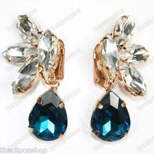 Clip on Austrian Crystal Teardrop Drop Earrings Gold Pltd Glass Rhinestone Clips