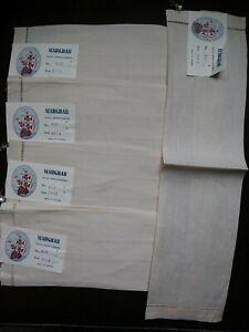 Lot Of 5 Vintage NWT Marghab Linen Finger Towels Beige No. 657 Hand Hemstitched