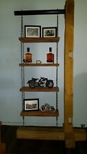 shelving unit, 4 shelves timber and chain for books or whatever you would like