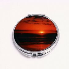 Compact Mirror Orange Sunset Stainless Steel  Small makeup mirror for your purse
