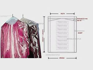 CLEAR POLYTHENE PLASTIC GARMENT COVERS FILM DRY CLEANERS BAGS CLOTHES 38''