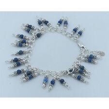 925 Sterling Silver Natural High Grade Blue Denim lapis Charm Bracelet