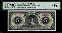 Mexico 5 Pesos  1963  PMG 67 EPQ UNC Pick # 60h
