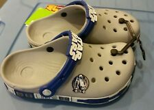 NEW Crocs Star Wars R2D2 Glow-in-Dark Crocband Boys Sz 3 Gray Blue - FREE SHIP