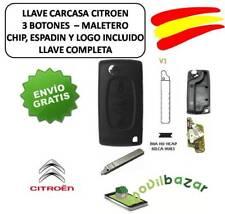 LLAVE CARCASA CITROEN C2 C3 C4 C5 C6 V1 HU83 MALETERO CHIP ID46 433MHZ