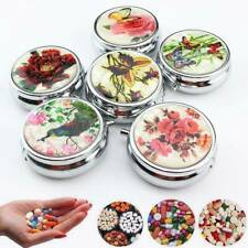 Retro Floral Design Round Metal Pill Case Medicine Tablet Pill Box Container