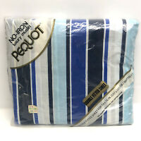 Vintage Pequot Double FITTED Bed Sheet Luxury Muslin Blue Black Stripes NOS New