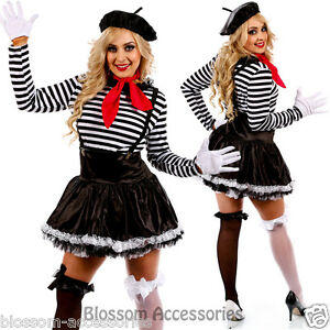 K29 Mesmerizing Mime Costume French Artist Clown Circus Fancy Dress Up Outfits