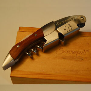 Screwpull Corkscrew with 2 Hinges Wine Bottle Opener with Rosewood Handle