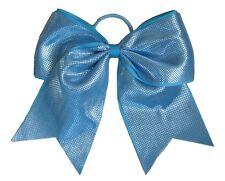 """NEW """"SPARKLE DOTS Aqua Blue"""" Cheer Bow Pony Tail Ribbon Hair Bows Cheerleading"""