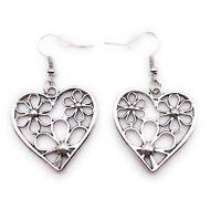 Corazón con Flores Pendientes Colgante Plata Metal