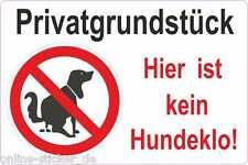 Privatgrundstück kein Hundeklo Aufkleber Hinweisschild Hund Verbotsschild 2055