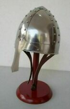 Reenactment Greek King Leonidas Medieval Norman Viking Helmet With Wooden Stand