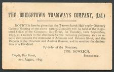 BARBADOS (23508): BRIDGETOWN TRAMWAYS/Too Late cancel/card