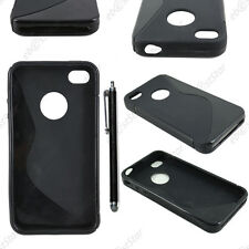 Housse Etui Coque Silicone Motif S-line Noir Apple iPhone 4S 4 + Stylet