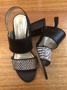 TAHARI Alex Leather High Heel Sandals, Black Snakeskin-Look Sz 5.5M AU
