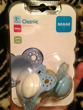 MAM Classic Latex Pacifiers 2 pack *Blue* LOT OF 3 - 6 Total Pacifiers