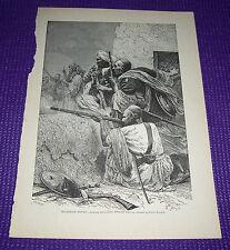 1899 Antique Print Huzareh Types Afridis Attacking English Troops Emile Bayard
