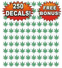 Wholesale Lot of 250 Pot Leaf Decals, Stickers, Weed, 420, Chronic, Marijuana