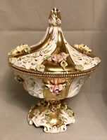 "VINTAGE BENROSE CAPODIMONTE ITALY CENTERPIECE 12"" URN W/LID GOLD YELLOW PINK"