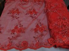 Red Floral Ribbon Embroidery Metallic and Sequin Lace Fabric on Mesh Dress