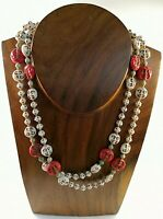 RARE Art Deco 20s Czech Max Neiger Brothers Glass Moon Face Uranium Necklace
