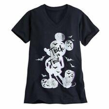 Disney Halloween Trick or Treat Mickey Mouse Shirt Glitter Bats X Small Women