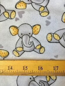 Joann Fabric Grey Baby Elephants on White Flannel for Quilts & Pillows