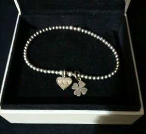Annie Haak sterling silver 925 heart & four leaf clover stretch ball bracelet