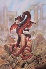 DRAGON IN RUINS ~ 24x36 FANTASY ART POSTER Pendragon Alchemy Gothic Dragons