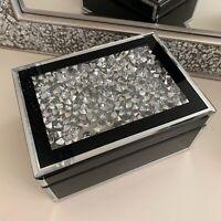 jewel diamante Mirrored Jewellery Box Trinket Storage drawer Organiser - black