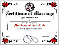 BDSM Certificate of Marriage Print Wedding Collar Love 50 Shades of Grey Cuffs