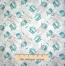 French Fabric - Coffee Pots Labels Ads Light Blue - David Textiles 26""